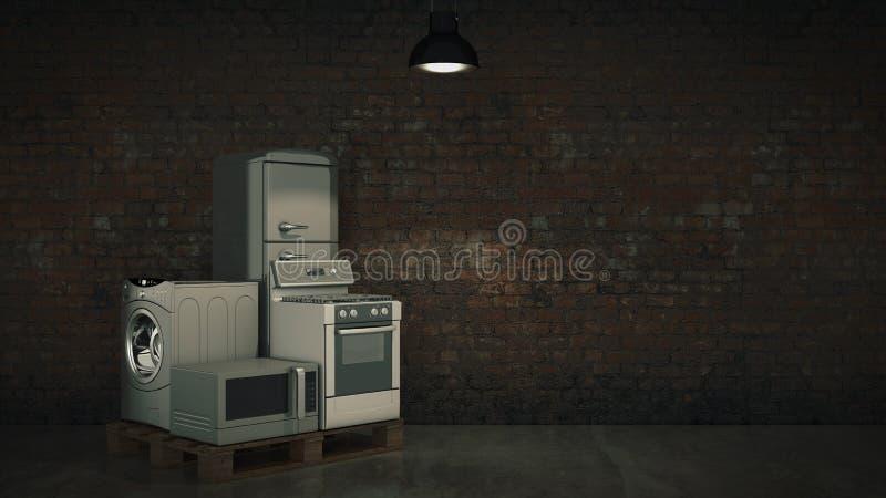 Appareils ménagers Ensemble de techniques de cuisine de ménage d'isolement sur le blanc Réfrigérateur, cuiseur de gaz, four à mic illustration de vecteur