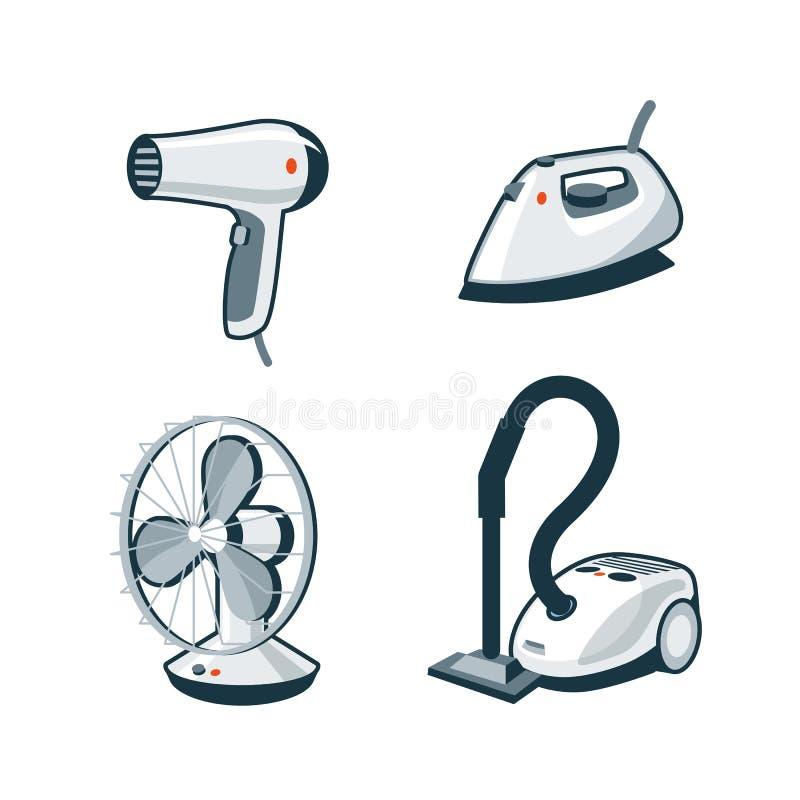 Appareils ménagers 5 - sèche-cheveux, fer, fan, aspirateur illustration libre de droits