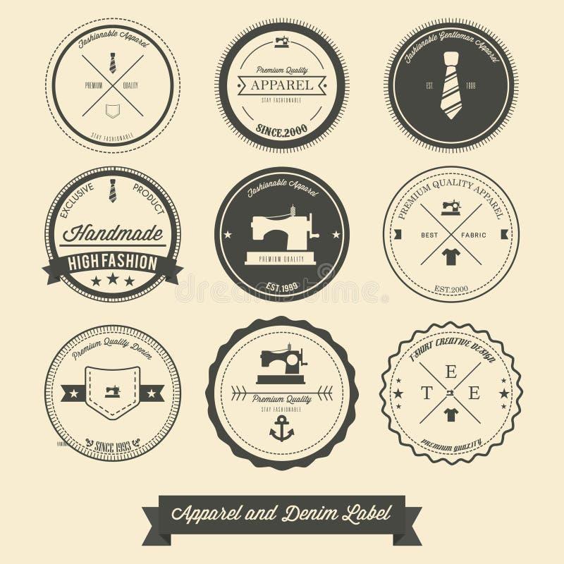 Apparel and denim label stock illustration