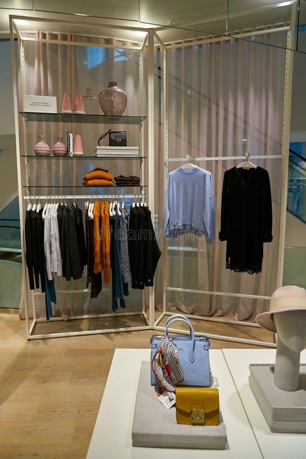 Apparel store. ZURICH, SWITZERLAND - CIRCA OCTOBER, 2018: interior shot of a store in Zurich royalty free stock photo