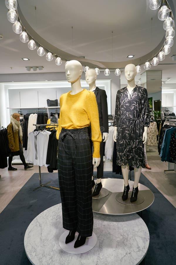 Apparel store. ZURICH, SWITZERLAND - CIRCA OCTOBER, 2018: interior shot of H&M store in Zurich royalty free stock photo