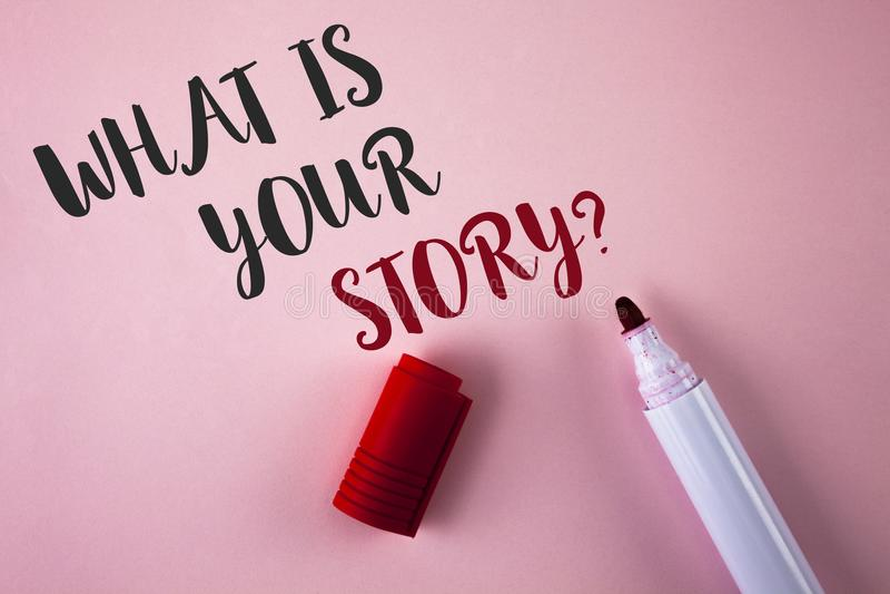Apparence conceptuelle d'écriture de main ce qui est votre question d'histoire Photo d'affaires présentant disant des expériences images stock