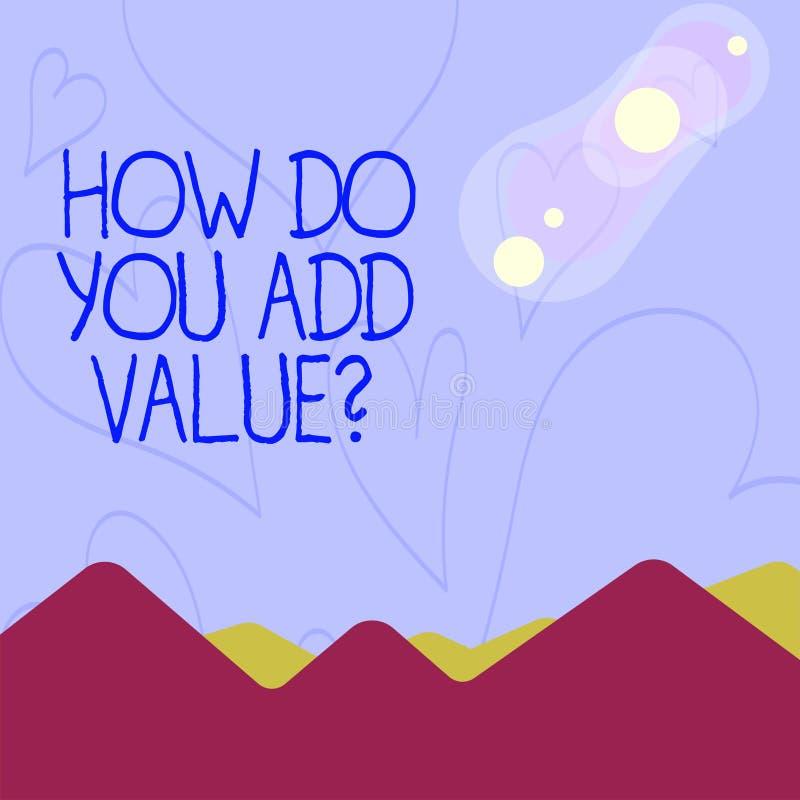 Apparence conceptuelle d'écriture de main comment vous ajoutez la question de valeur La présentation de photo d'affaires améliore illustration de vecteur