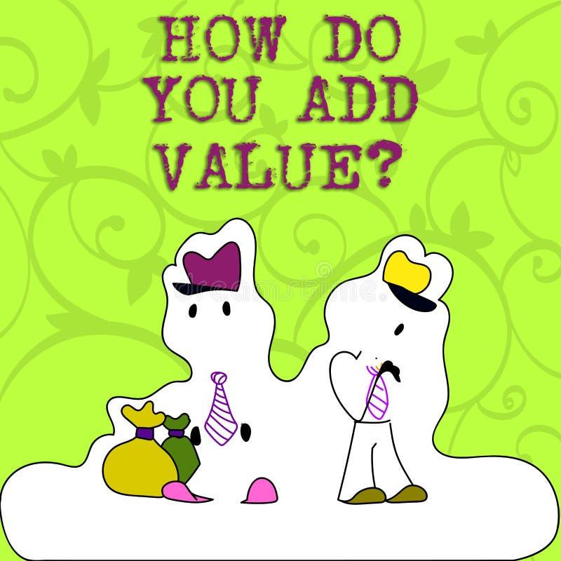 Apparence conceptuelle d'écriture de main comment vous ajoutez Valuequestion La présentation de photo d'affaires apportent le pro illustration stock