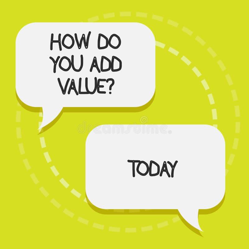 Apparence conceptuelle d'écriture de main comment vous ajoutez Valuequestion Le texte de photo d'affaires apportent le progrès d' illustration de vecteur