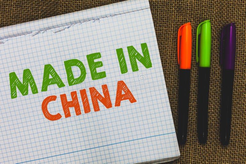 Apparence conceptuelle d'écriture de main fabriquée en Chine Commerce asiatique commercial global de marché d'industrie du commer photos stock