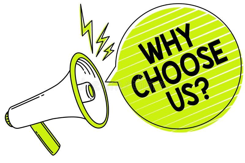 Apparence conceptuelle d'écriture de main pourquoi choisissez-nous question Le texte de photo d'affaires raisonne pour choisir no illustration libre de droits