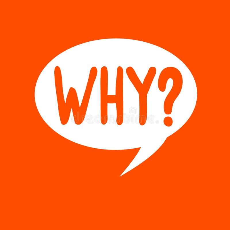 Apparence conceptuelle d'écriture de main pourquoi question Texte de photo d'affaires demandant quels raison et but exprimant la  illustration de vecteur