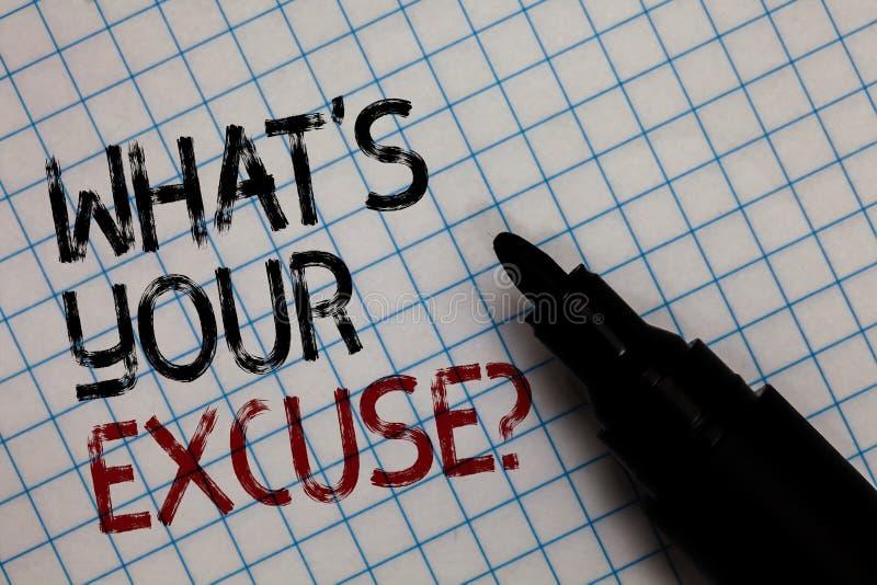 Apparence conceptuelle d'écriture de main quel s est votre question d'excuse Explications des textes de photo d'affaires pour ne  photo stock
