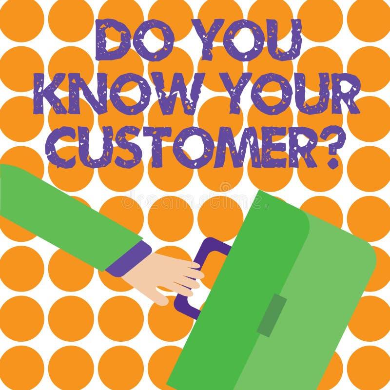 Apparence conceptuelle d'écriture de main vous connaissez votre question de clientèle Service de présentation de photo d'affaires illustration de vecteur