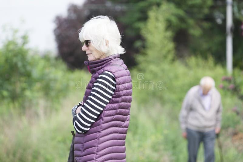 Apparence d'encéphalopathie de démence et d'Alzheimers sur de vieux couples supérieurs image stock