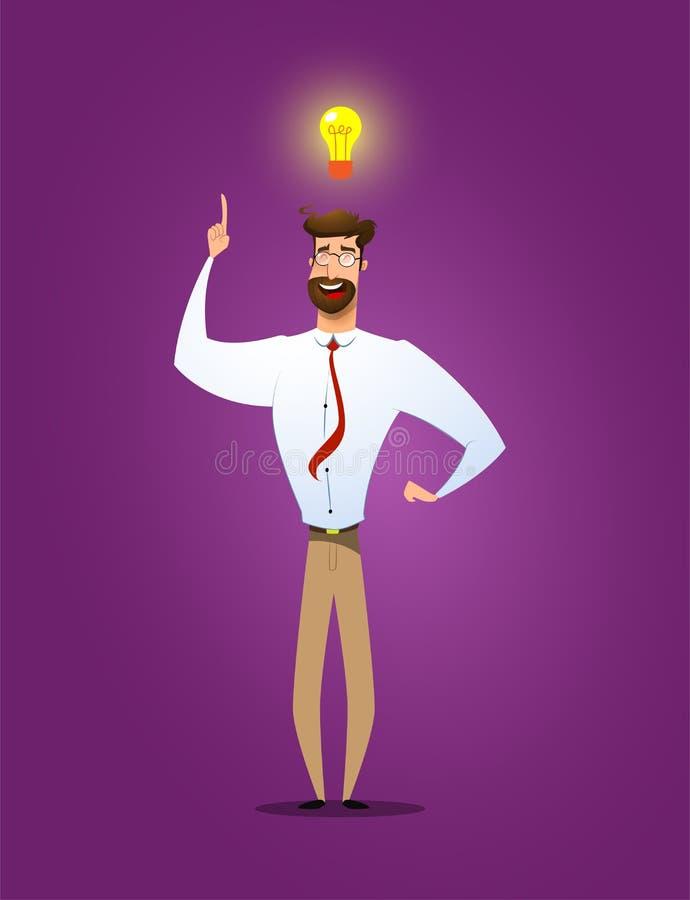 Apparence d'homme d'affaires il a la nouvelle idée illustration stock