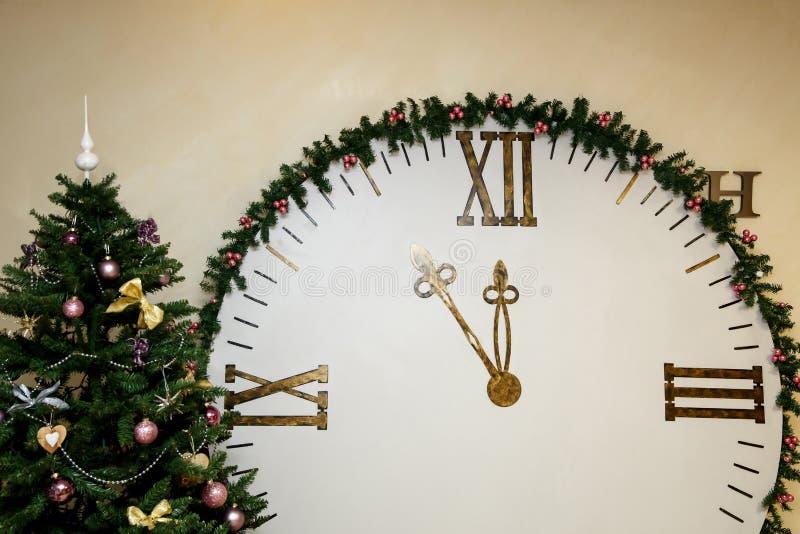 Apparence 23 d'horloge 55 Minute cinq avant nouvelle année Temps de Noël photographie stock