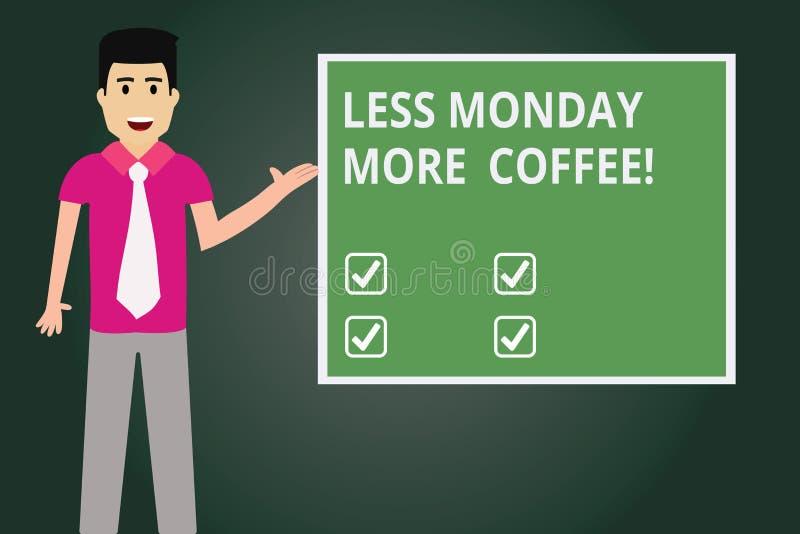 Apparence de signe des textes moins lundi plus de café Boisson chaude de photo conceptuelle à obtenir inspirée chez l'homme de dé illustration de vecteur
