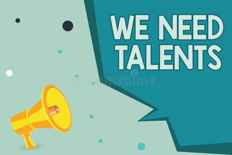 Apparence de signe des textes nous avons besoin de talents Le nouveau recrutement de photo conceptuelle faisant des entrevues cho illustration de vecteur