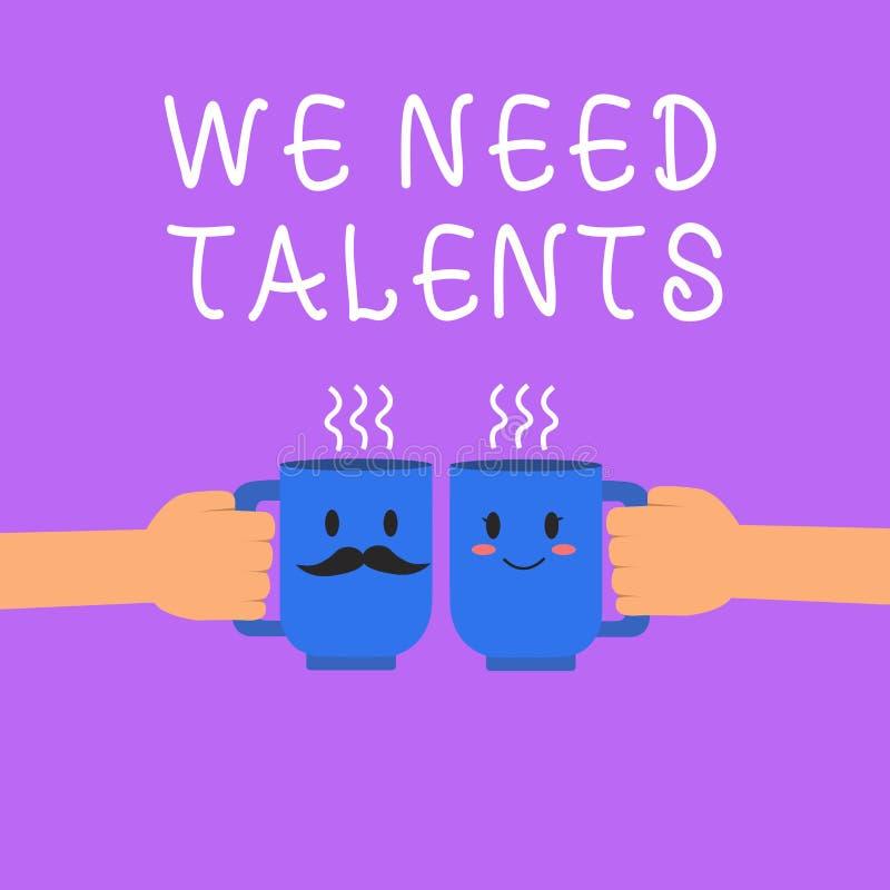 Apparence de signe des textes nous avons besoin de talents Le nouveau recrutement de photo conceptuelle faisant des entrevues cho illustration stock