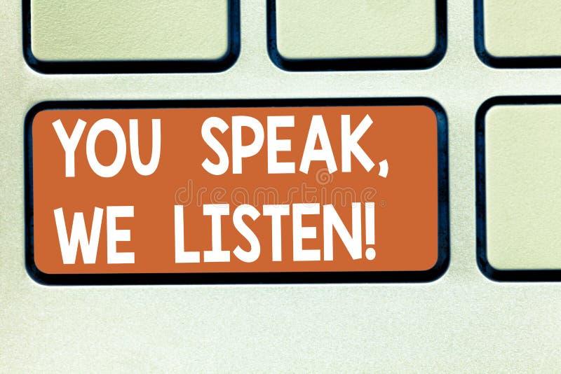 Apparence de signe des textes vous nous parlez écoutez E image stock