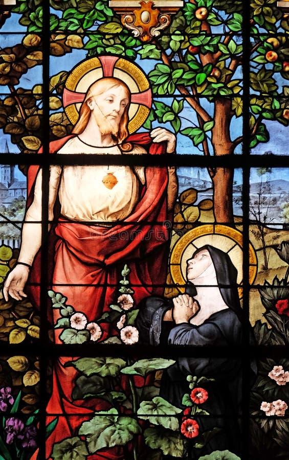 Apparition Święty serce Marguerite Maria Alacoque obrazy royalty free