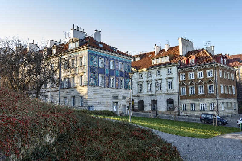 Appartamenti alla via di Mostowa a Varsavia immagini stock