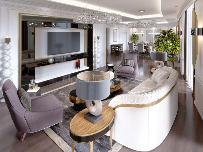 Appartamenti di lusso nell'hotel con un salone e una sala da pranzo, sofà, letto, supporto della TV, tavolo da pranzo, interno cl illustrazione di stock