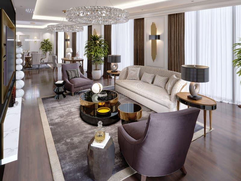 Appartamenti di lusso nell'hotel con un salone e una sala da pranzo, sofà, letto, supporto della TV, tavolo da pranzo, interno cl royalty illustrazione gratis