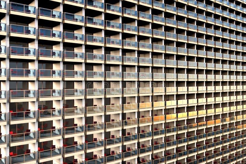 Appartamenti di sguardo in uniforme in una costruzione di appartamento enorme e sovraffollata illustrazione di stock