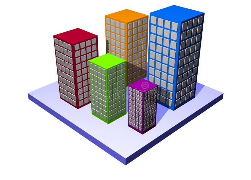 Appartamenti ed appartamenti - serie della proprietà della costruzione illustrazione vettoriale