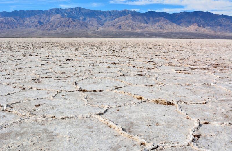 Appartamenti sgualciti del sale al bacino di Badwater nel Death Valley nazionale fotografie stock libere da diritti