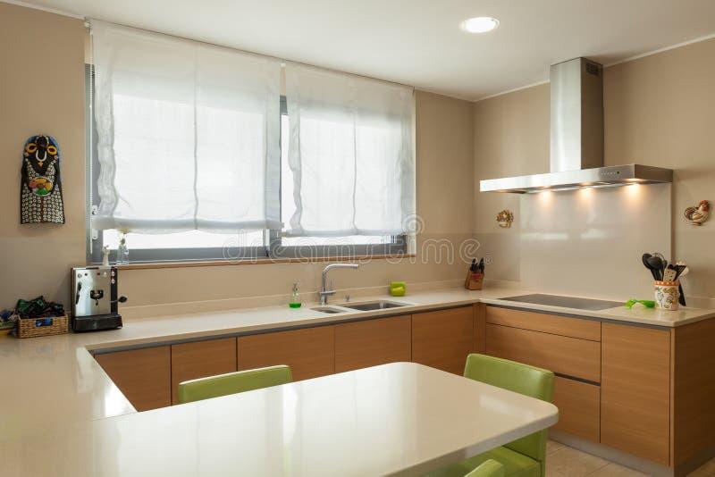 Appartamento ammobiliato, cucina moderna fotografia stock libera da diritti