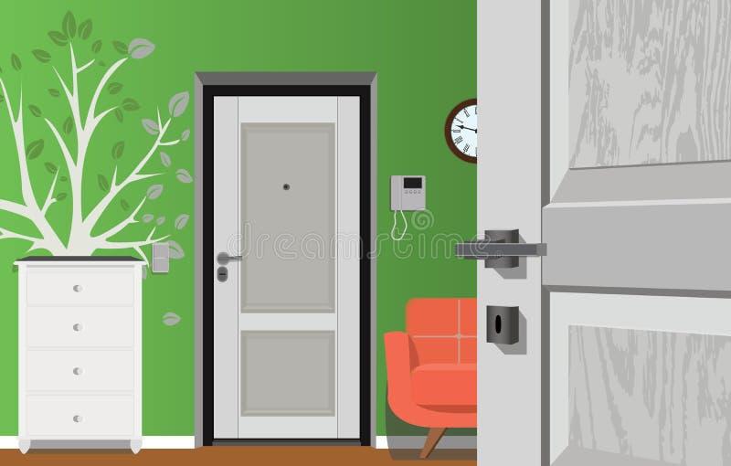 Appartamento classico moderno dell'annata di Hall Hallway Corridor In Old Illustrazione di corridoio illustrazione di stock