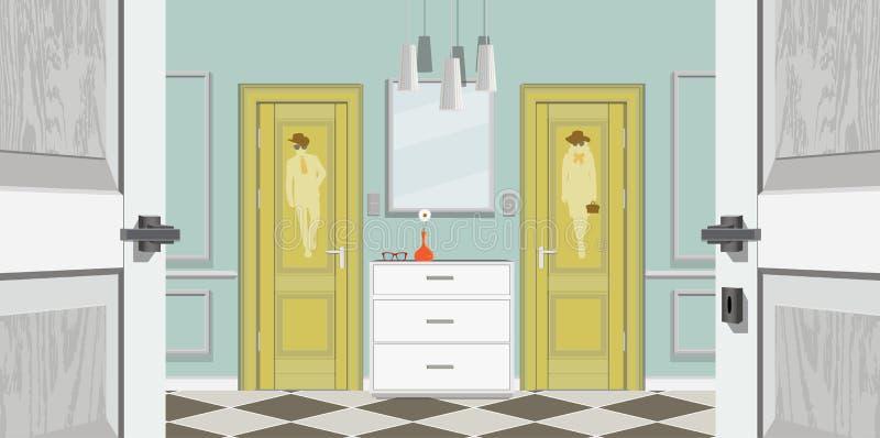 Appartamento classico moderno dell'annata di Hall Hallway Corridor In Old Illustrazione di corridoio royalty illustrazione gratis