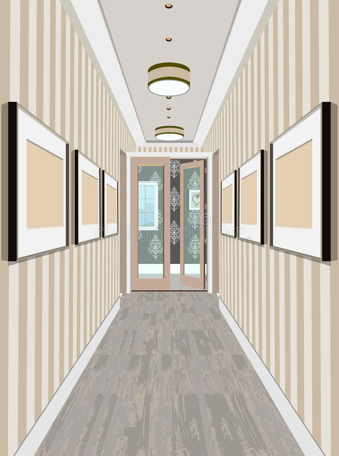 Appartamento classico moderno dell'annata di Hall Hallway Corridor In Old Illustrazione di corridoio illustrazione vettoriale