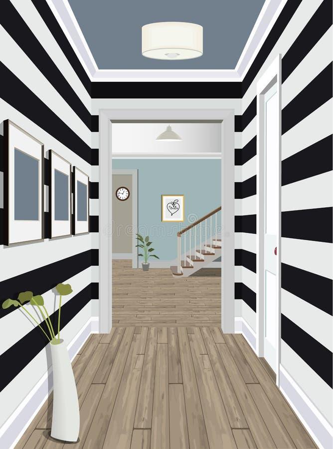 Appartamento classico moderno dell'annata di Hall Hallway Corridor In Old Illustrazione di corridoio Interno di un corridoio inte illustrazione vettoriale