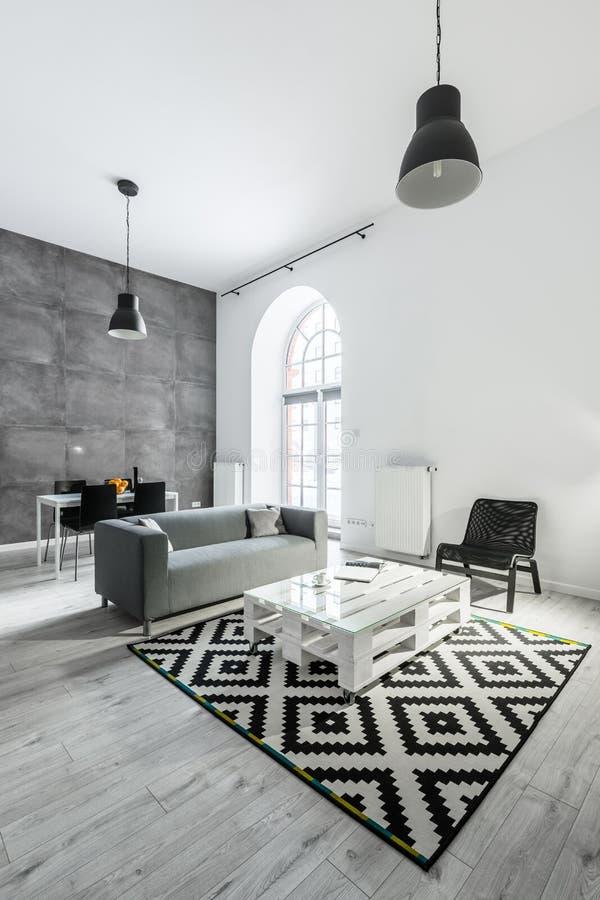 Appartamento del sottotetto con il salone immagini stock libere da diritti