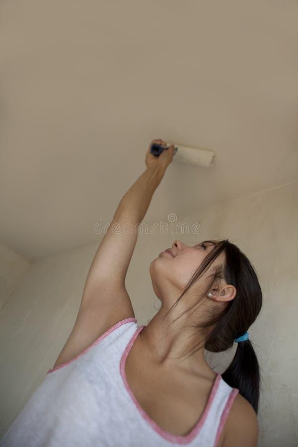 Appartamento della pittura della ragazza immagine stock libera da diritti