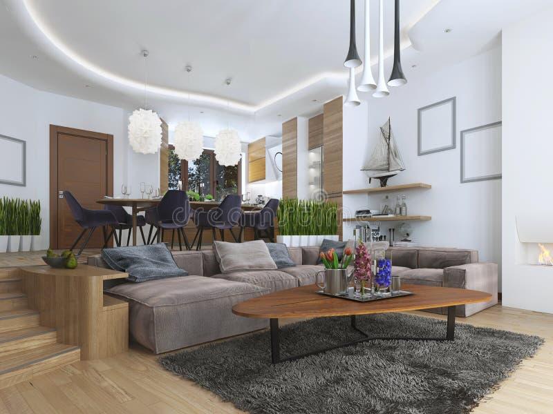 Appartamento di studio con il salone e la sala da pranzo in un contempor fotografia stock