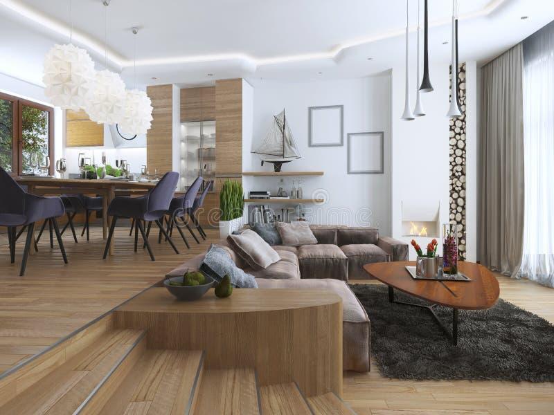 Appartamento di studio con il salone e la sala da pranzo in un contempor fotografia stock - La sala da pranzo ...
