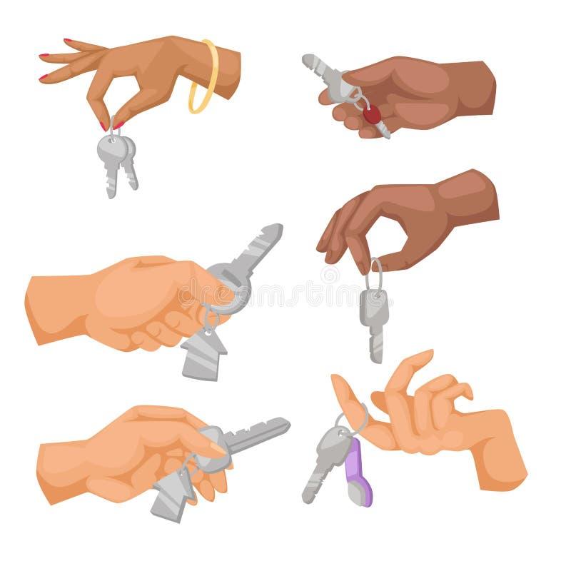 Appartamento di vettore di chiave della tenuta della mano che vende l'illustrazione umana di simbolo del braccio di concetto dell illustrazione di stock