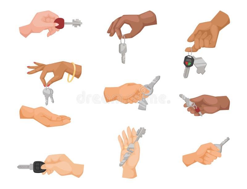 Appartamento di vettore di chiave della tenuta della mano che vende l'illustrazione umana di simbolo del braccio di concetto dell illustrazione vettoriale