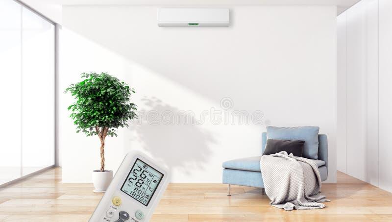 Appartamento interno moderno con condizionamento d'aria e contr a distanza immagini stock libere da diritti