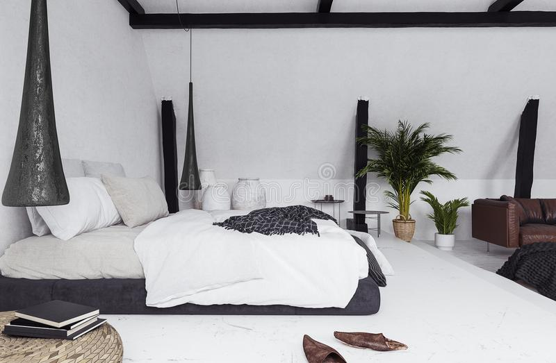Appartamento moderno di aperto piano in soffitta, stile del sottotetto royalty illustrazione gratis