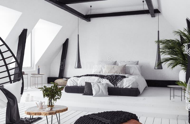 Appartamento moderno di aperto piano in soffitta, stile del sottotetto illustrazione di stock