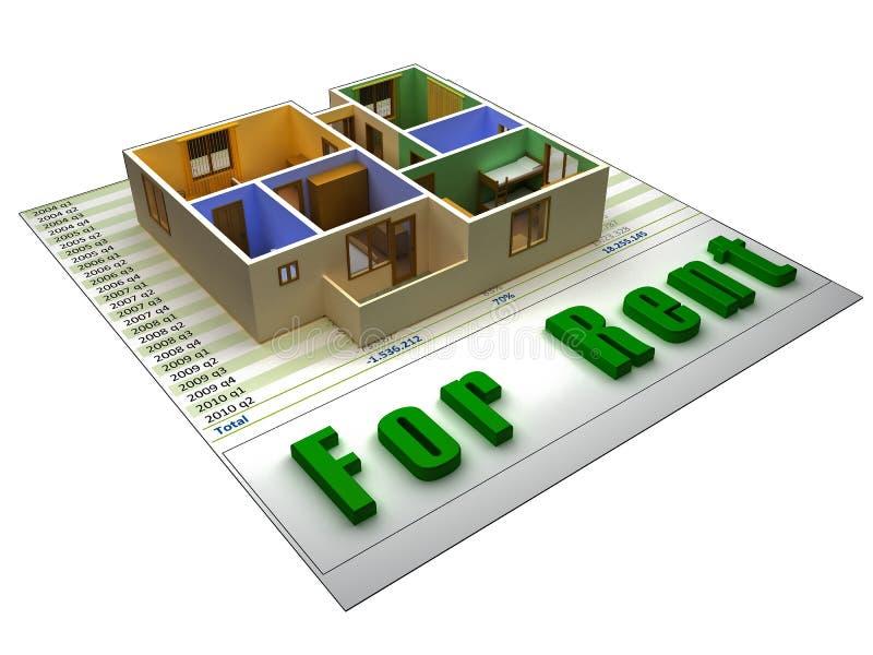 appartement 3D sur un fichier finacial pour le loyer illustration libre de droits