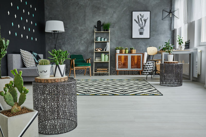 Appartement avec les accessoires décoratifs en métal photographie stock libre de droits