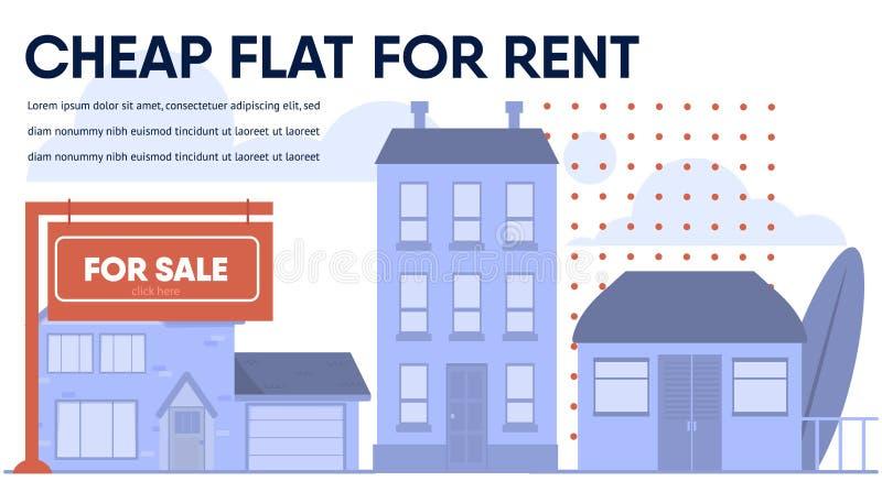 Appartement bon marché, cottage, Chambre de budget pour la bannière de loyer illustration libre de droits