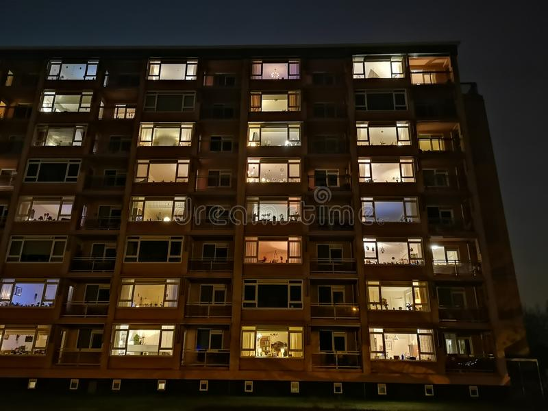 An appartement building in the evening. Check out the fine details when taking a close look royalty free stock photos