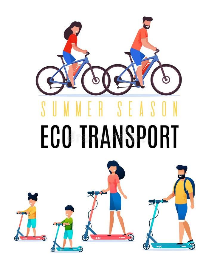 Appartement coloré de transport d'Eco de saison d'été d'affiche illustration de vecteur