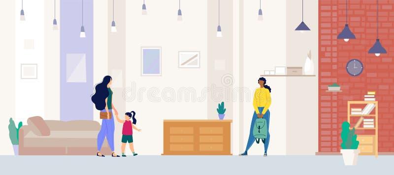 Appartement d'apparence d'agent immobilier au vecteur plat d'acheteur illustration stock