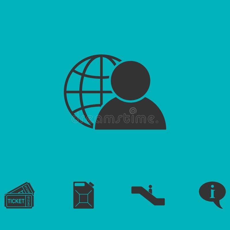 Appartement d'icône d'administrateur réseau illustration de vecteur