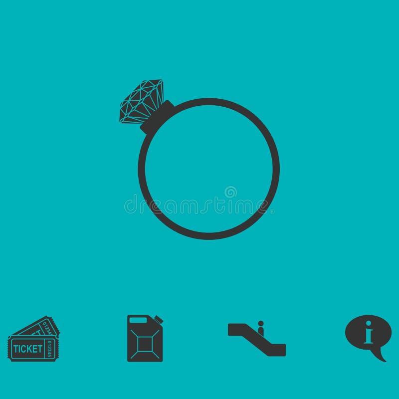 Appartement d'icône de bague à diamant illustration stock